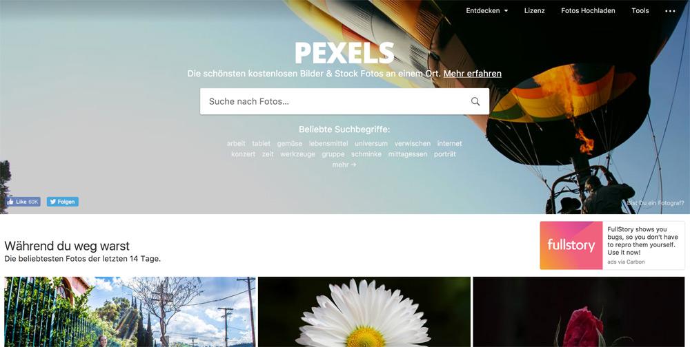 Pexels kostenlose und lizenzfreie Bilddatenbank