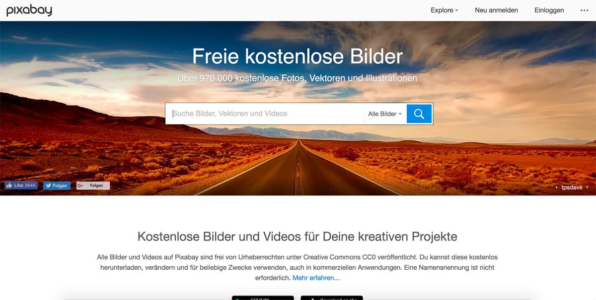 Pixabay - Bilderdatenbank mit CC0 Lizenz