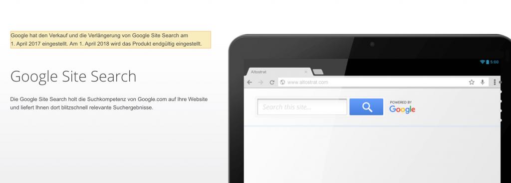 Google Site Search wird deaktiviert