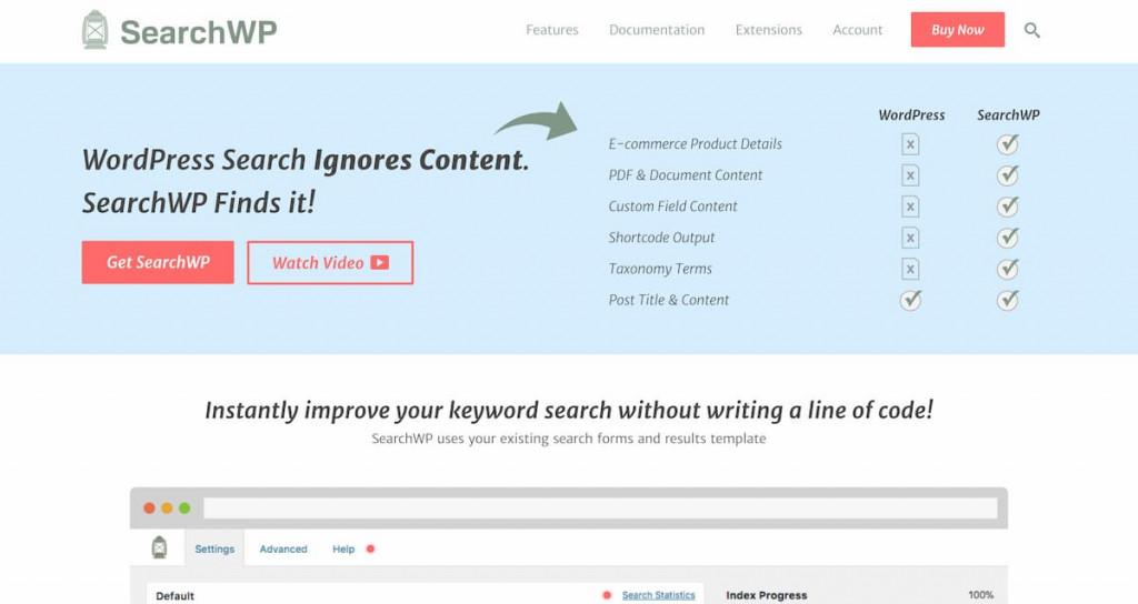 SearchWP als Site Search Alternative
